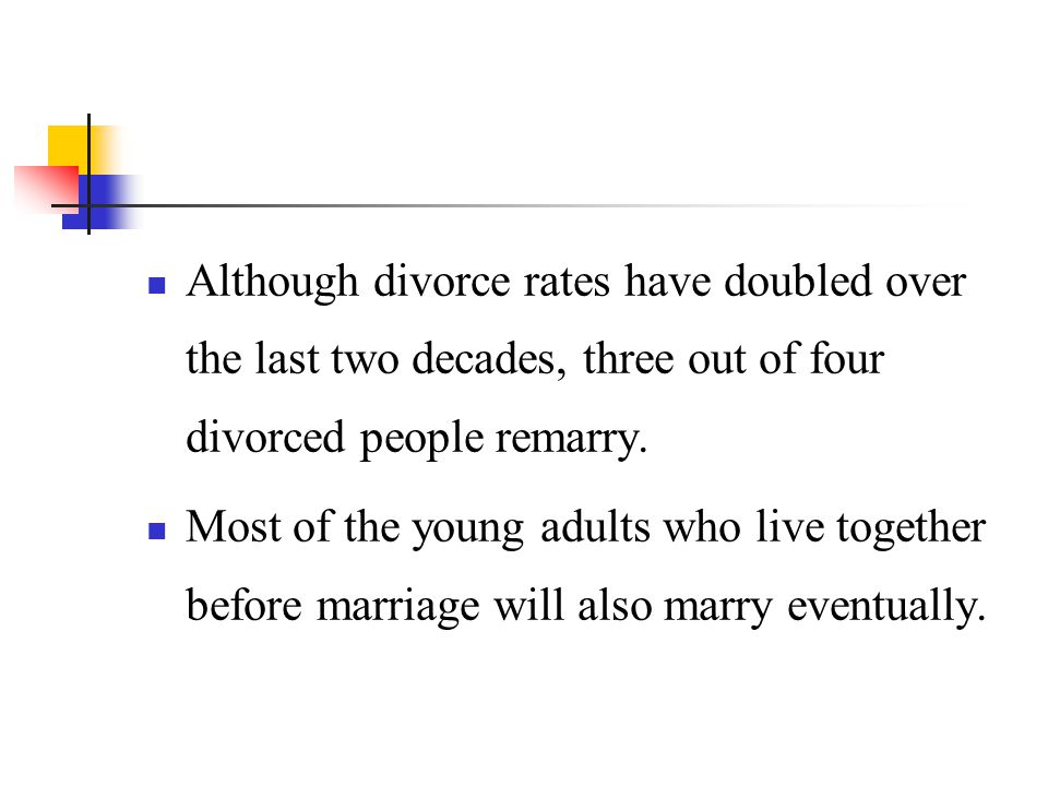 Although divorce rates have doubled over the last two decades, three out of four divorced people remarry.