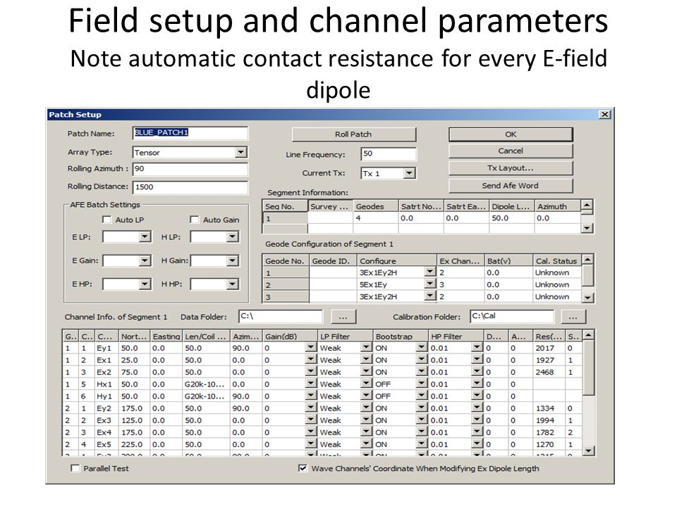 Field setup and channel parameters Note automatic contact resistance for every E-field dipole