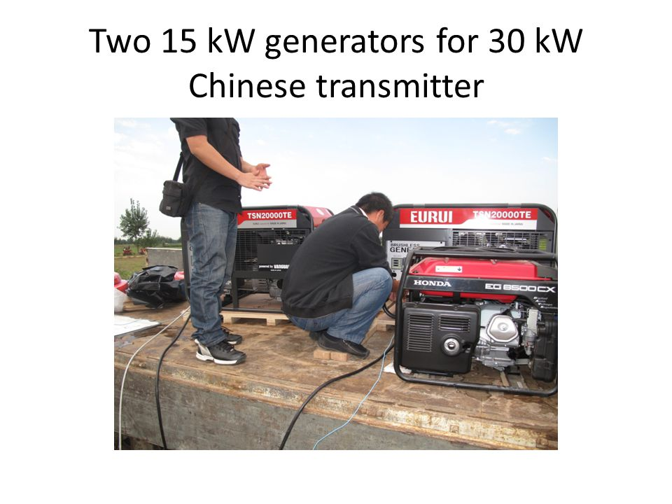 Two 15 kW generators for 30 kW Chinese transmitter