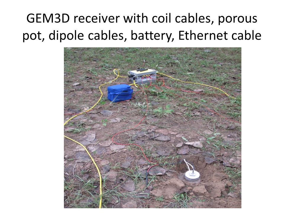 GEM3D receiver with coil cables, porous pot, dipole cables, battery, Ethernet cable