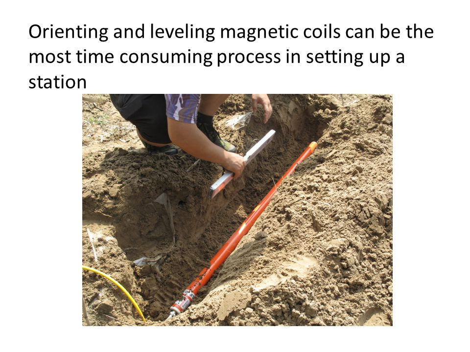 Orienting and leveling magnetic coils can be the most time consuming process in setting up a station