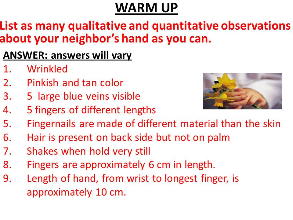WARM UP List as many qualitative and quantitative observations about your neighbor's hand as you can.