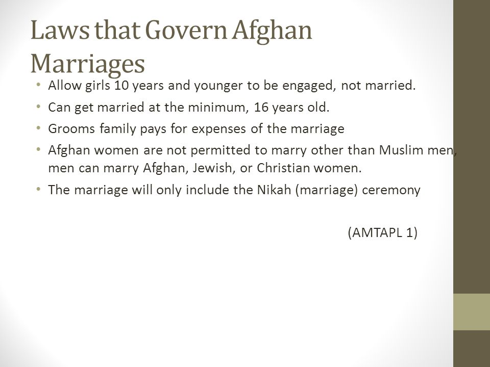 Laws that Govern Afghan Marriages