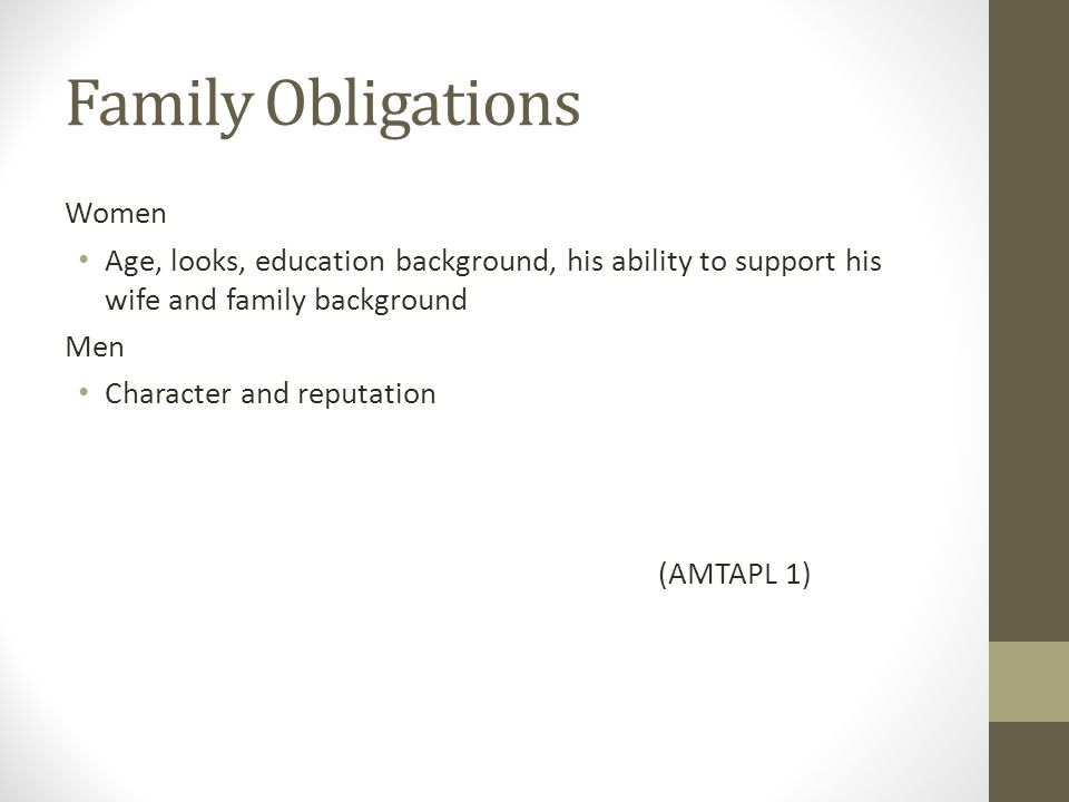 Family Obligations Women