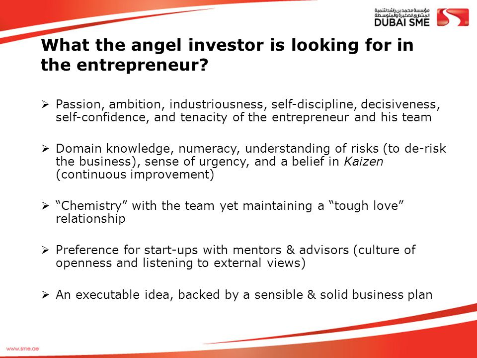 What the angel investor is looking for in the entrepreneur