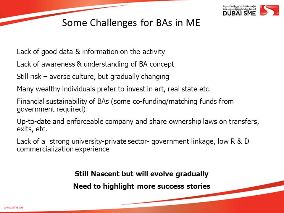 Some Challenges for BAs in ME