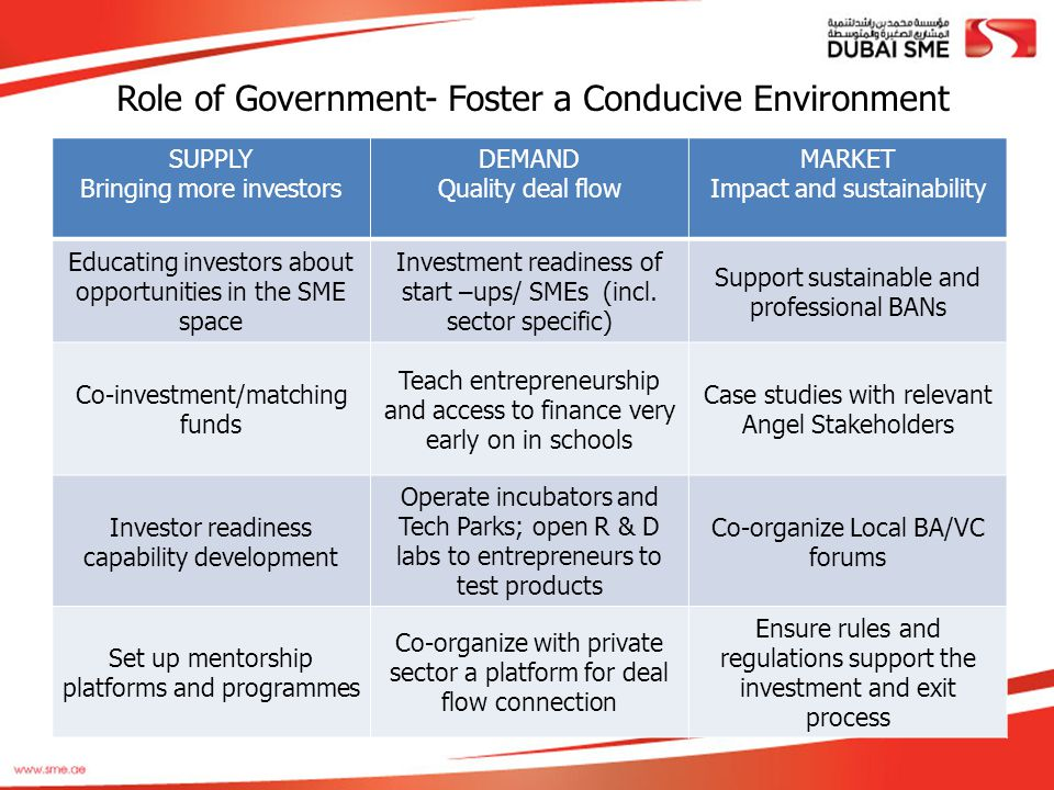 Role of Government- Foster a Conducive Environment