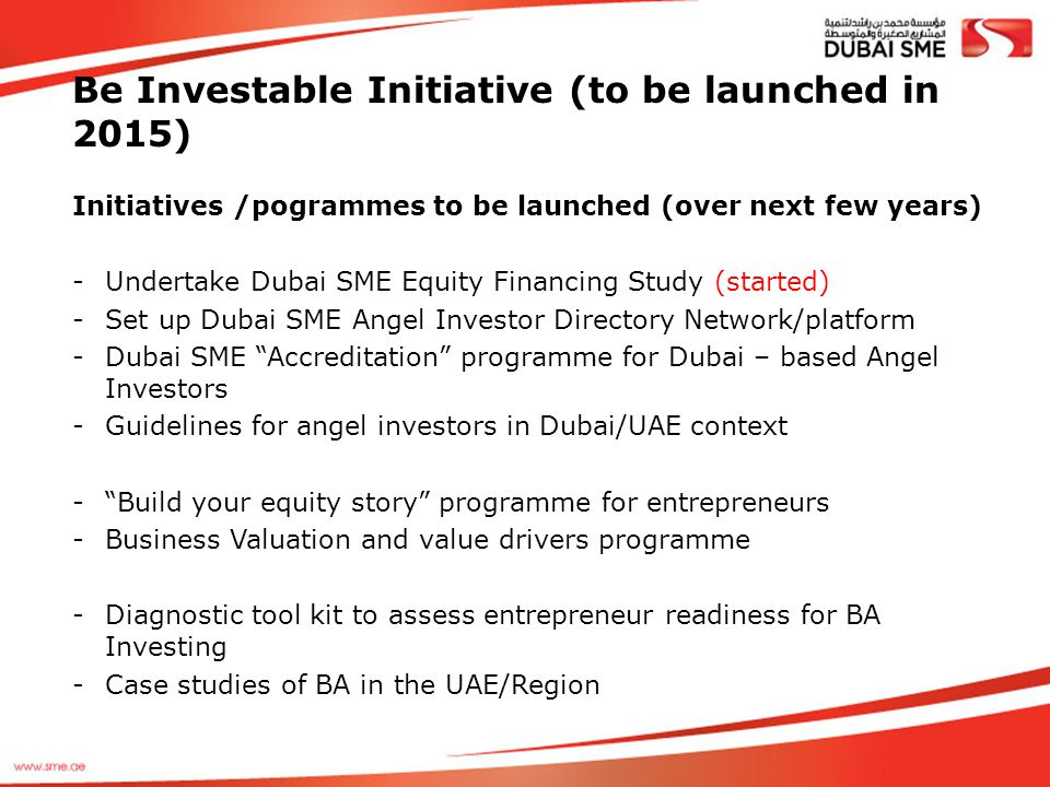 Be Investable Initiative (to be launched in 2015)