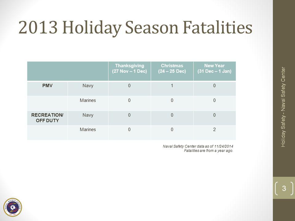 2013 Holiday Season Fatalities