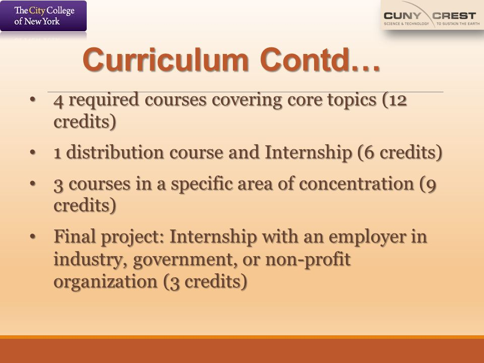 Curriculum Contd… 4 required courses covering core topics (12 credits)