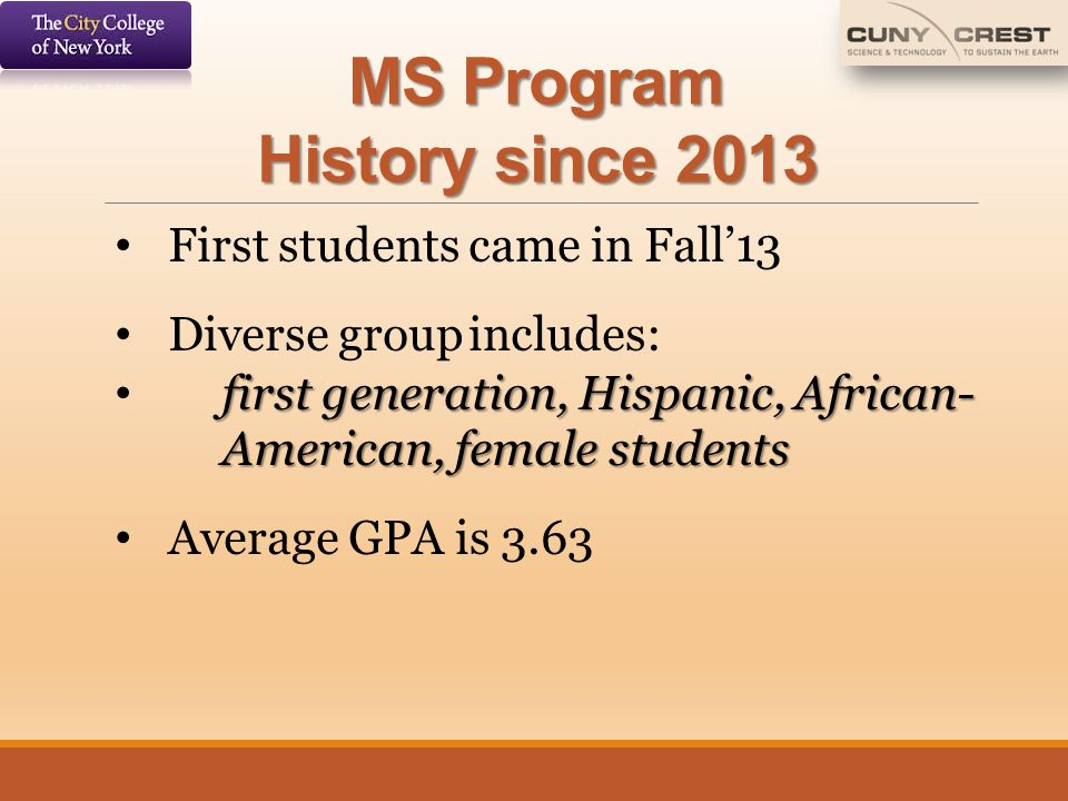 MS Program History since 2013
