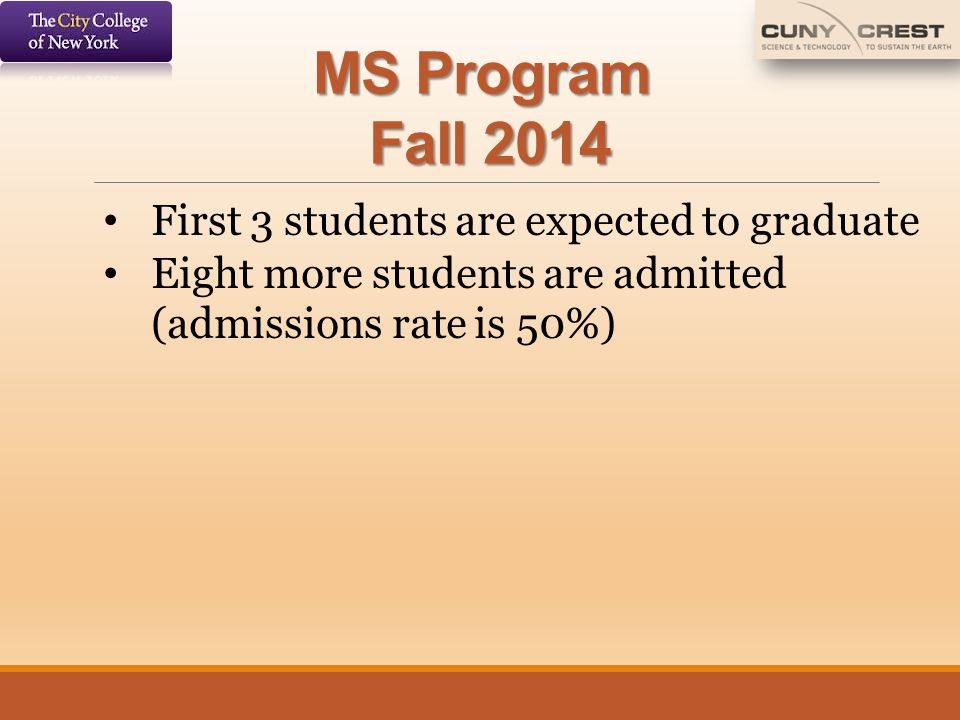 MS Program Fall 2014 First 3 students are expected to graduate