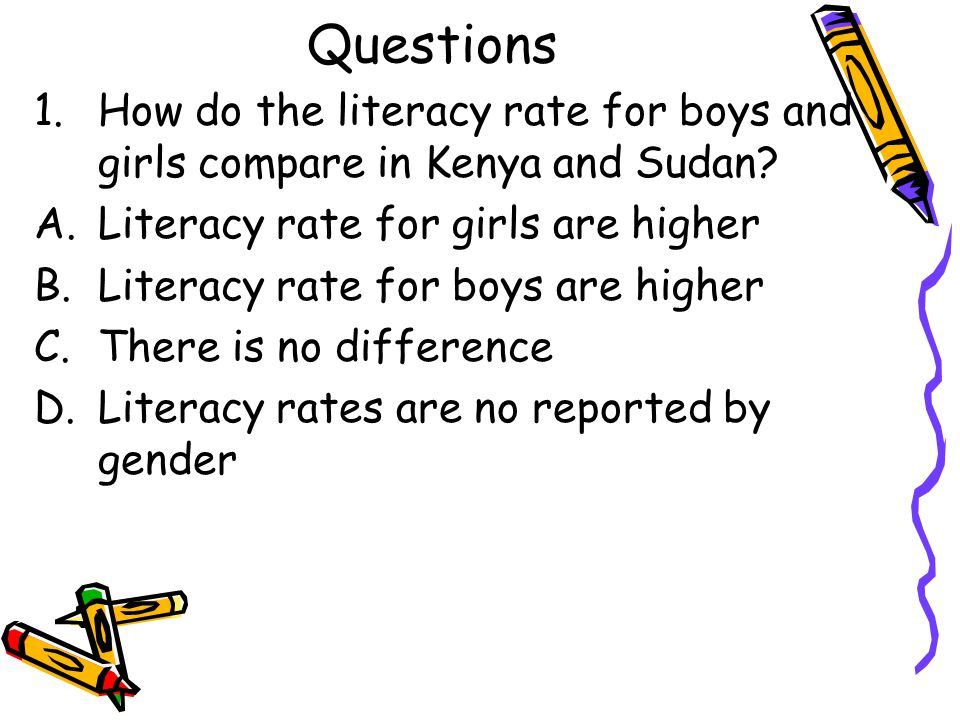 Questions How do the literacy rate for boys and girls compare in Kenya and Sudan Literacy rate for girls are higher.