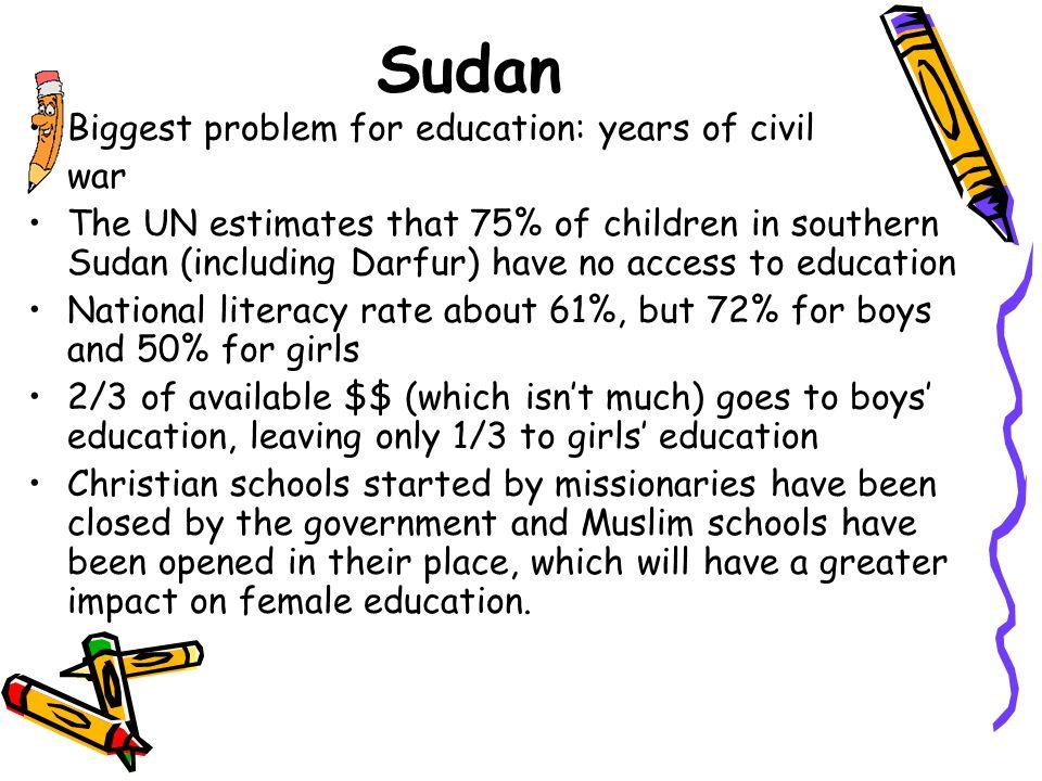 Sudan Biggest problem for education: years of civil war