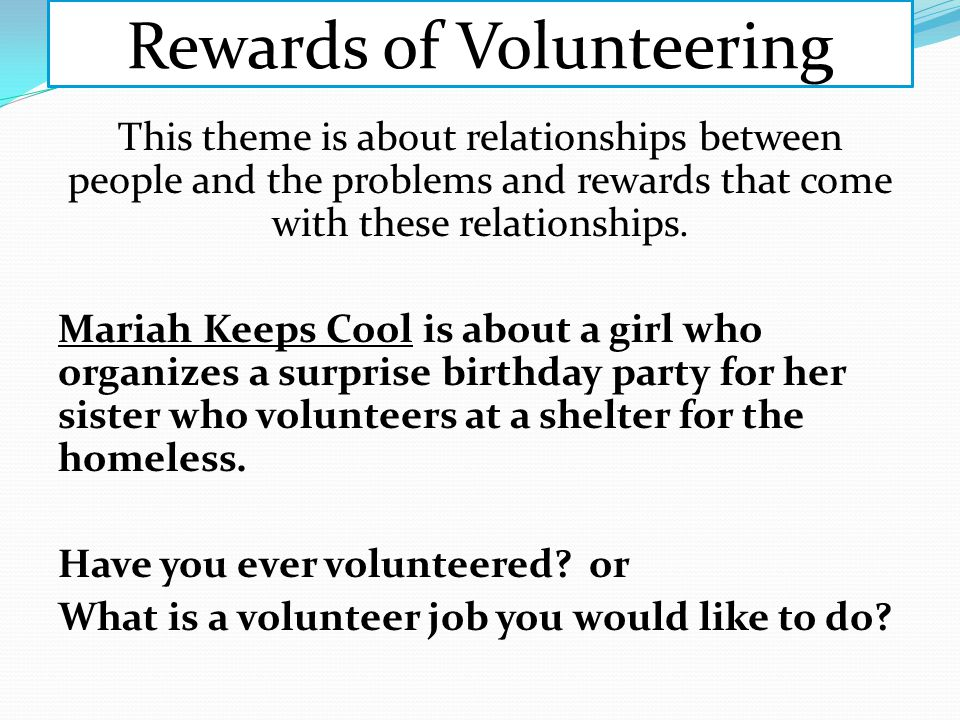 Rewards of Volunteering
