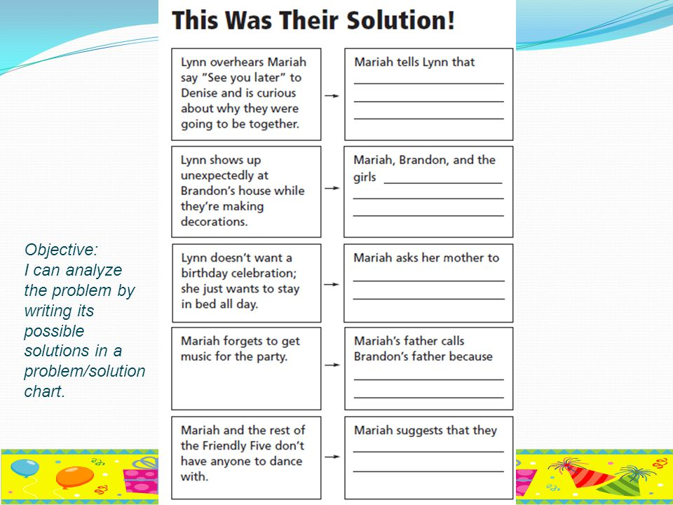 Objective: I can analyze the problem by writing its possible solutions in a problem/solution chart.