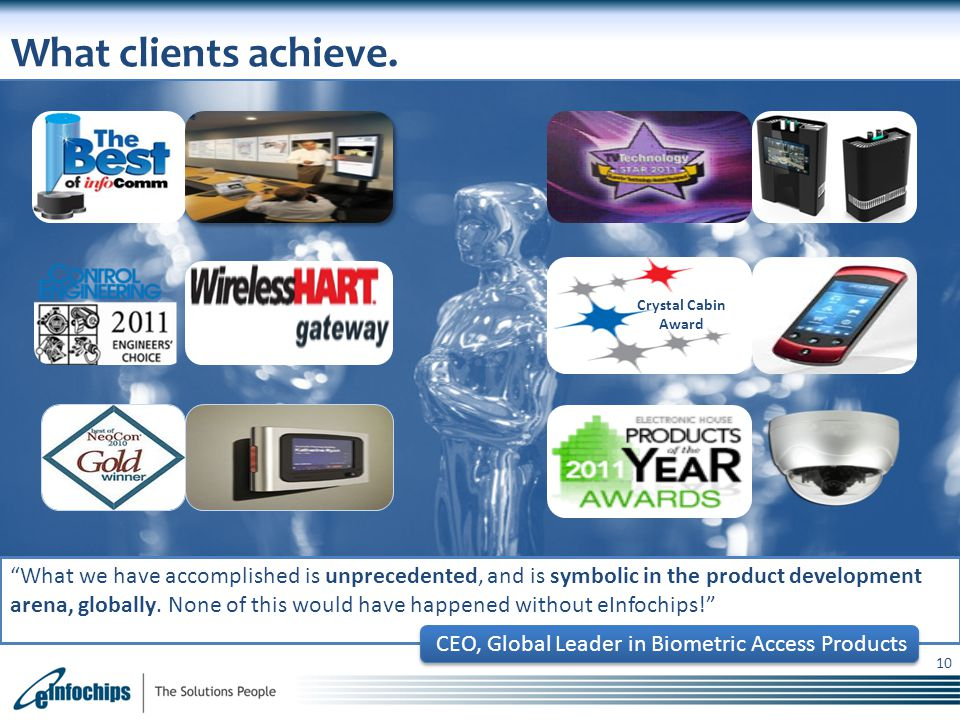 What clients achieve. Crystal Cabin Award.