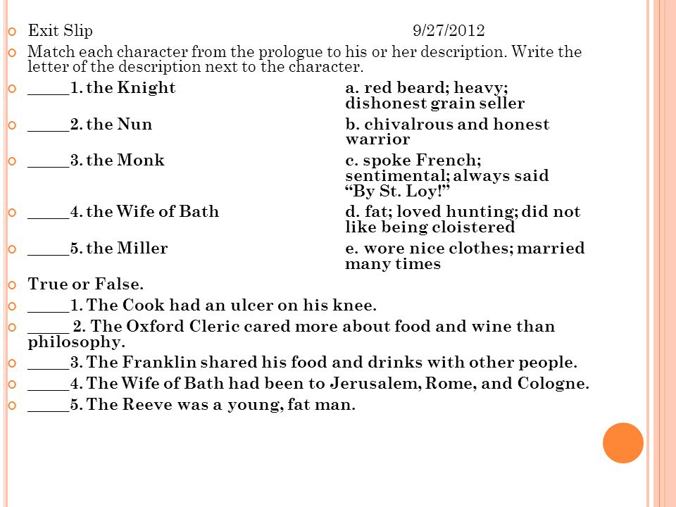 Exit Slip 9/27/2012 Match each character from the prologue to his or her description. Write the letter of the description next to the character.