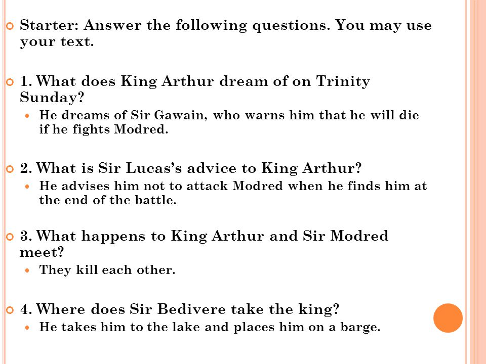 Starter: Answer the following questions. You may use your text.
