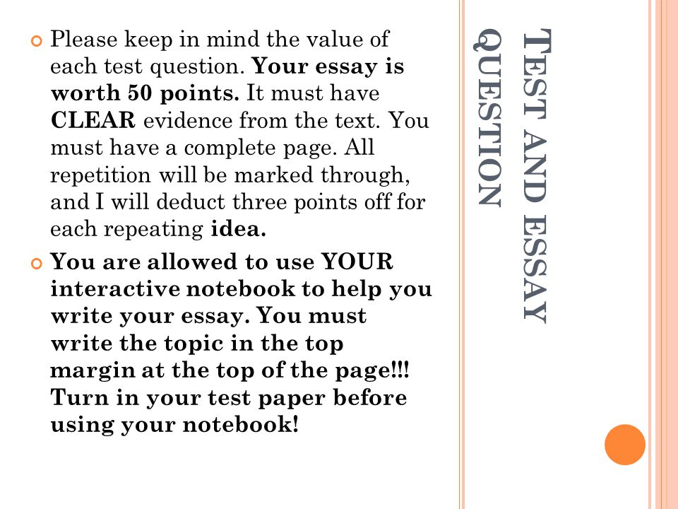 Test and essay question