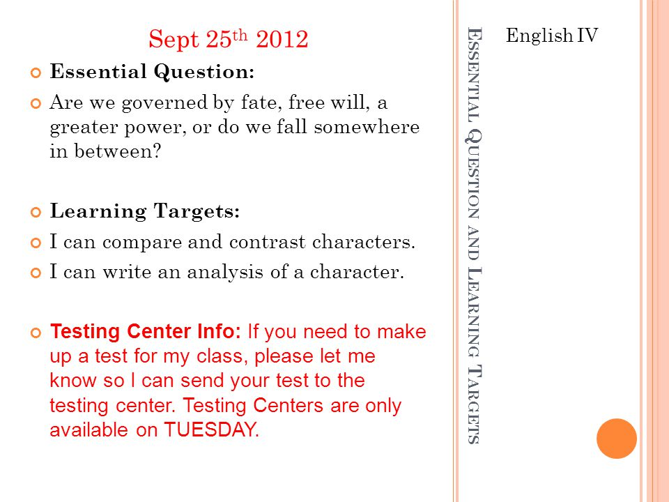 Essential Question and Learning Targets