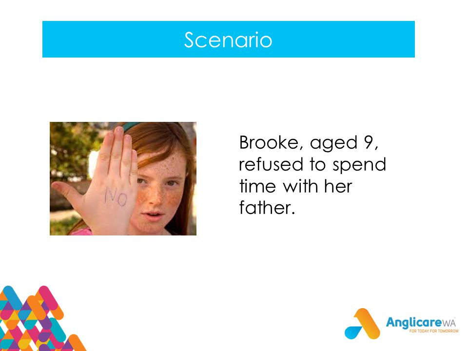 Scenario Brooke, aged 9, refused to spend time with her father.