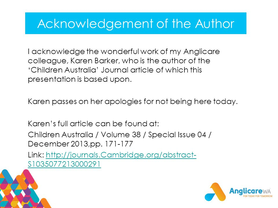 Acknowledgement of the Author