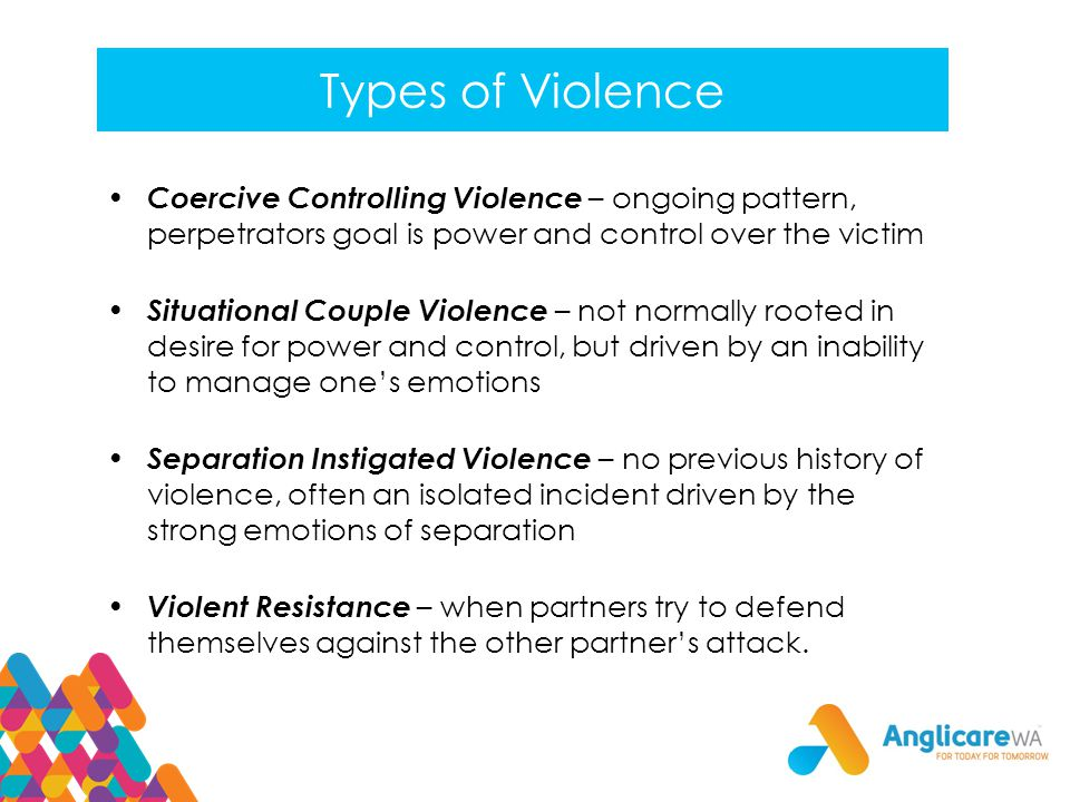 Types of Violence Coercive Controlling Violence – ongoing pattern, perpetrators goal is power and control over the victim.