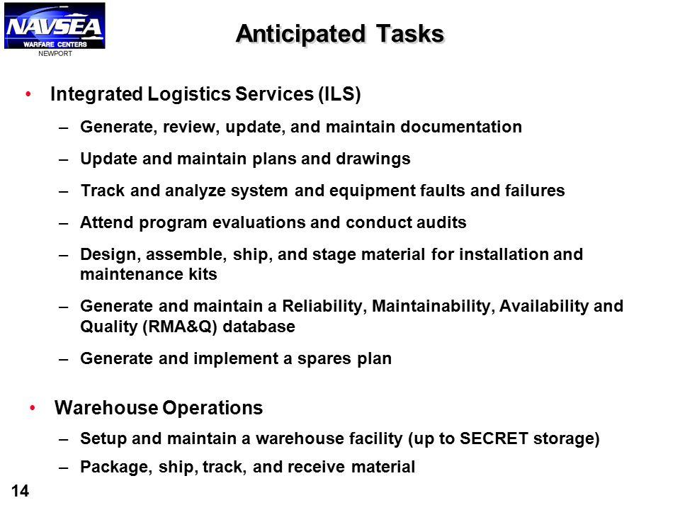 Anticipated Tasks Integrated Logistics Services (ILS)