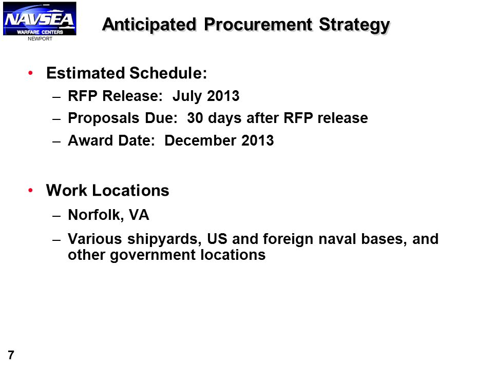 Anticipated Procurement Strategy