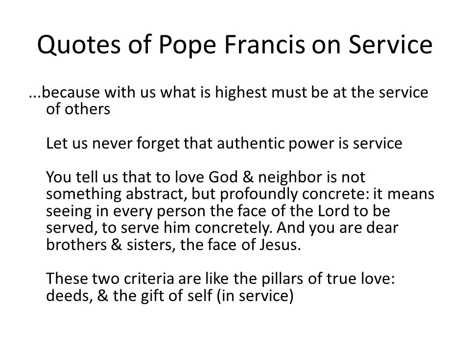 Quotes of Pope Francis on Service