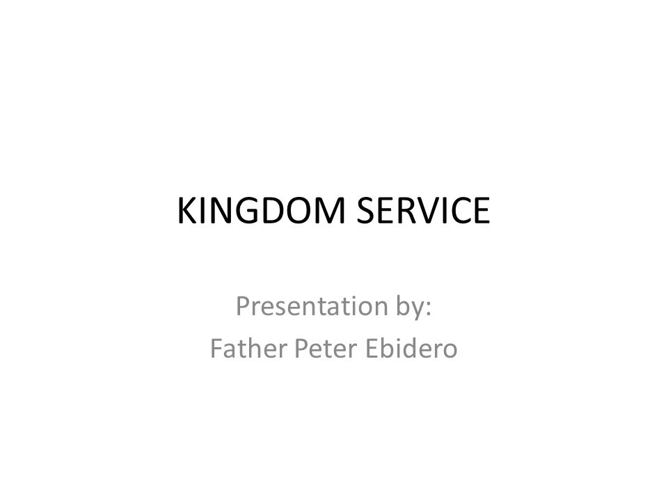 Presentation by: Father Peter Ebidero