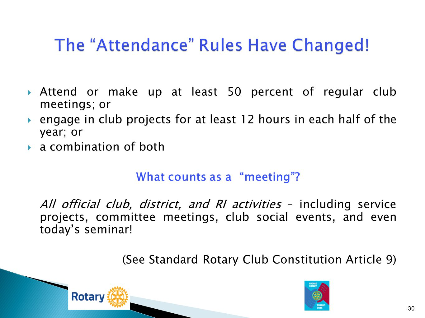 The Attendance Rules Have Changed!