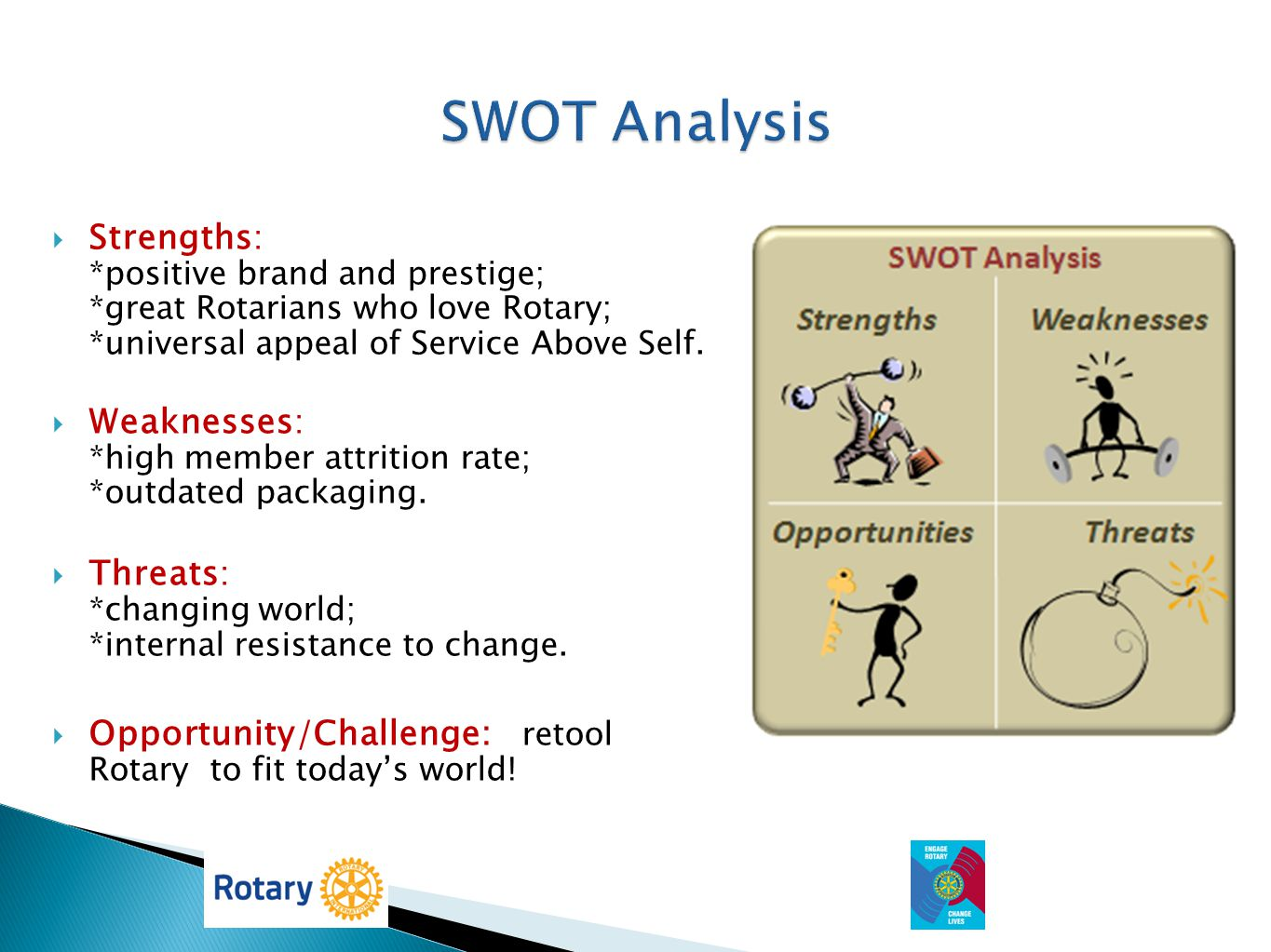SWOT Analysis Strengths: *positive brand and prestige; *great Rotarians who love Rotary; *universal appeal of Service Above Self.