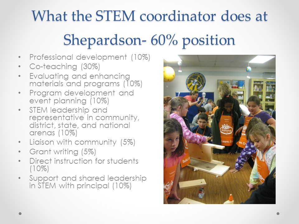 What the STEM coordinator does at Shepardson- 60% position