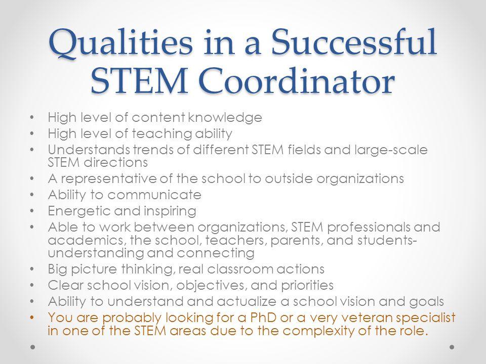 Qualities in a Successful STEM Coordinator