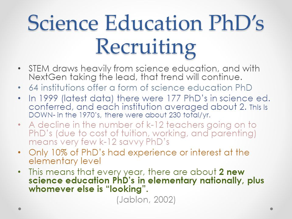 Science Education PhD's Recruiting