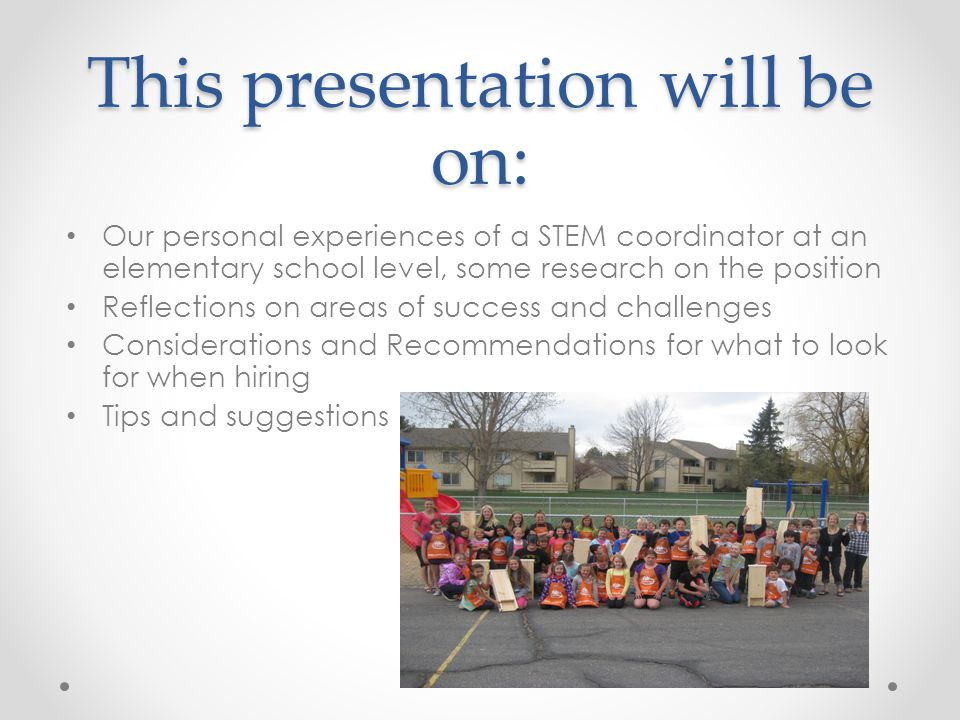 This presentation will be on: