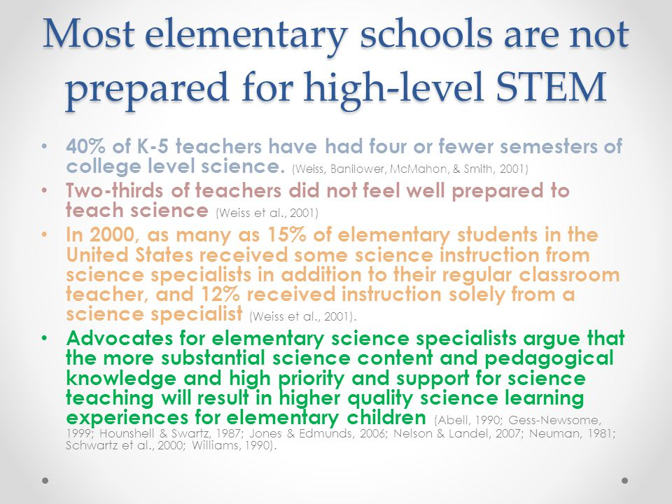 Most elementary schools are not prepared for high-level STEM