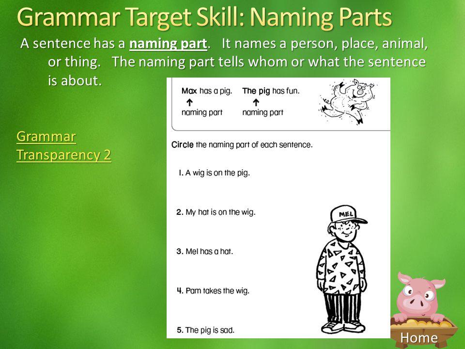 Grammar Target Skill: Naming Parts