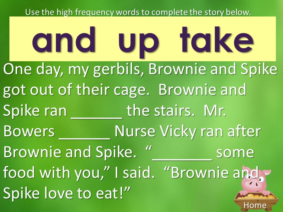 Use the high frequency words to complete the story below.
