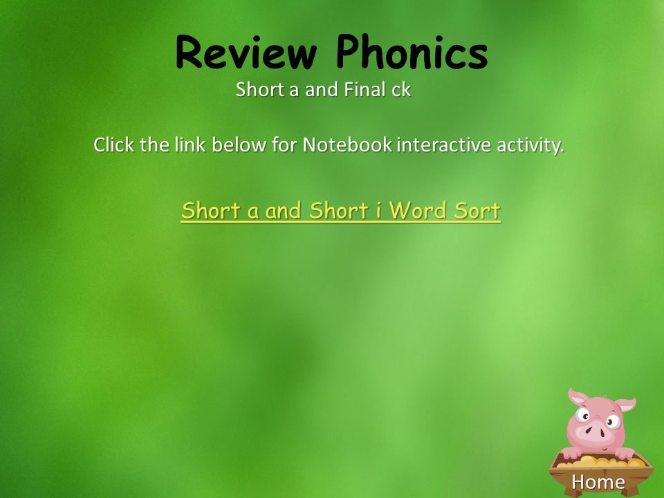 Review Phonics Short a and Final ck
