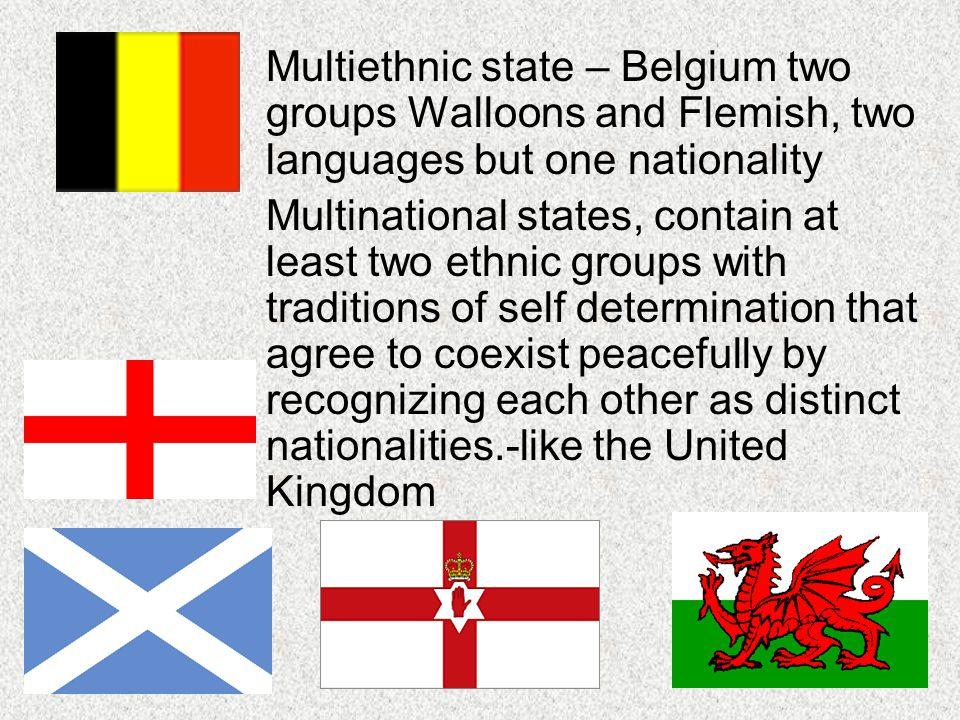 Multiethnic state – Belgium two groups Walloons and Flemish, two languages but one nationality
