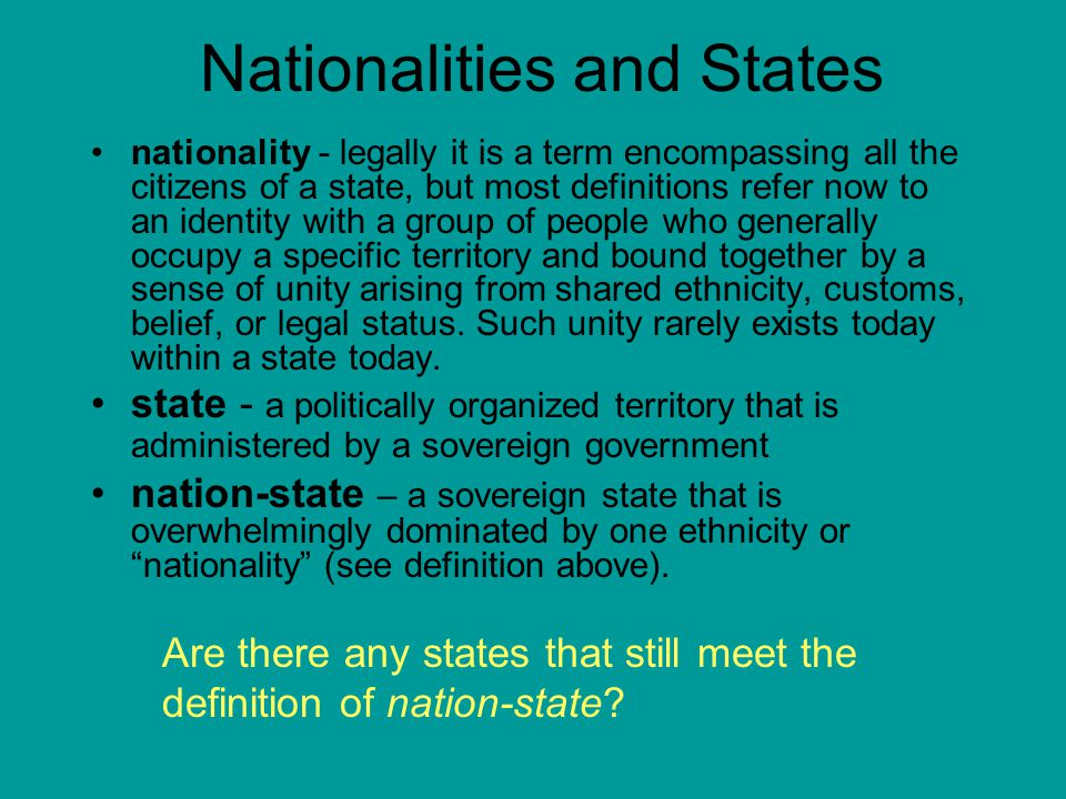 Nationalities and States