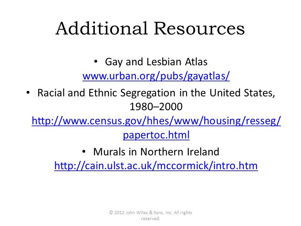 Additional Resources Gay and Lesbian Atlas www.urban.org/pubs/gayatlas/