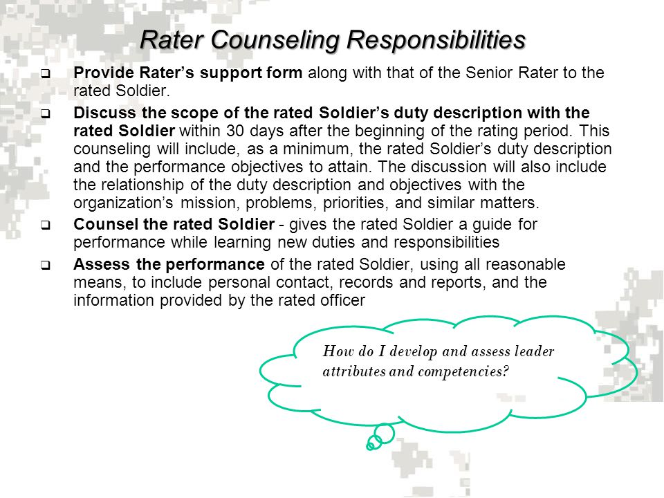 Evaluation System Rater And Senior Rater - Ppt Download