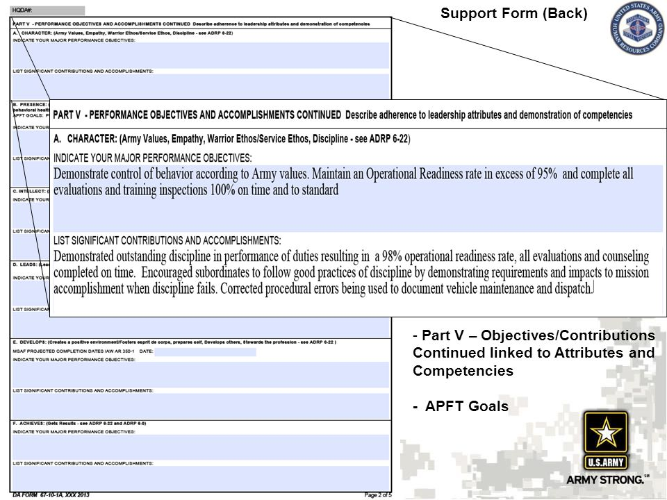 ncoer template - army oer support form examples