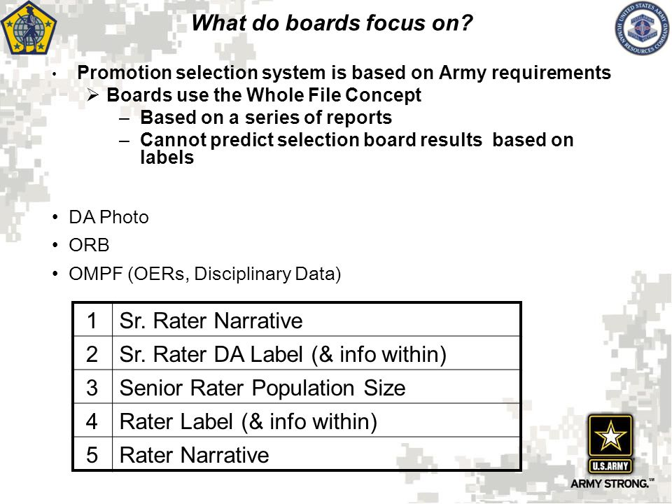 Sr. Rater DA Label (& info within) 3 Senior Rater Population Size 4