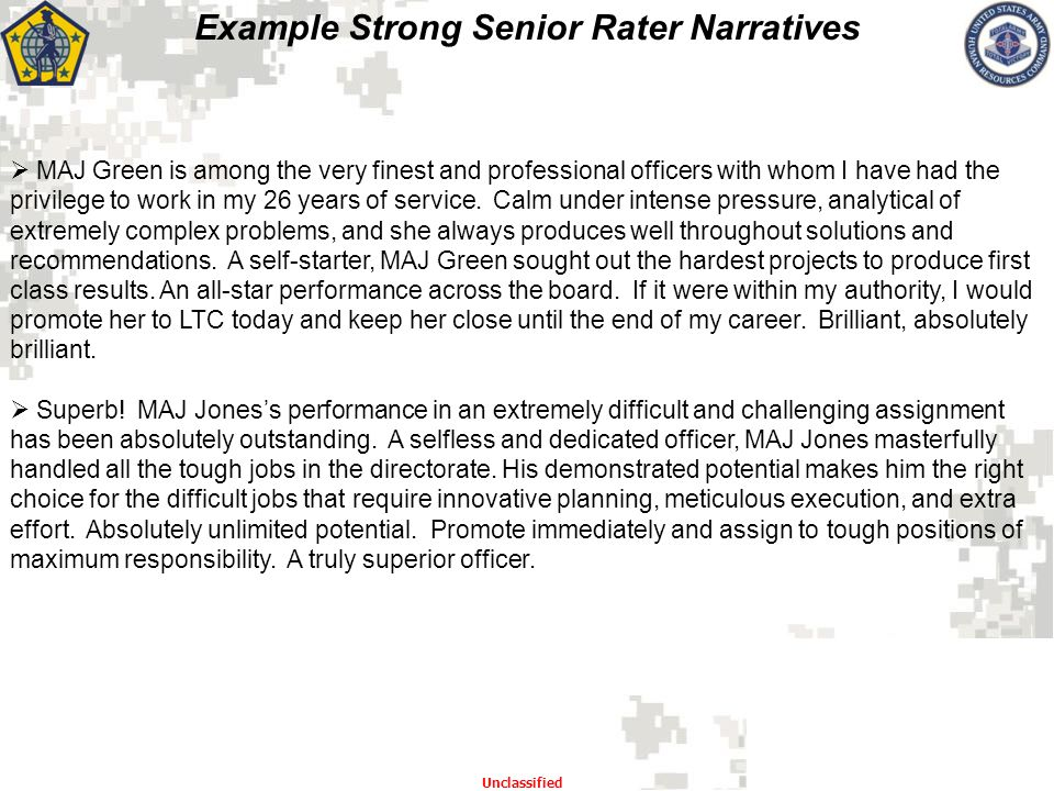 Example Strong Senior Rater Narratives