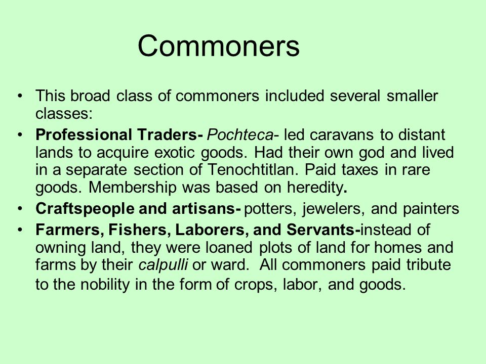 Commoners This broad class of commoners included several smaller classes: